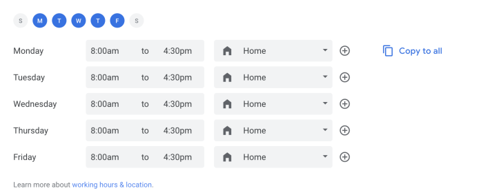 Setting work location and hours in Google Calendar