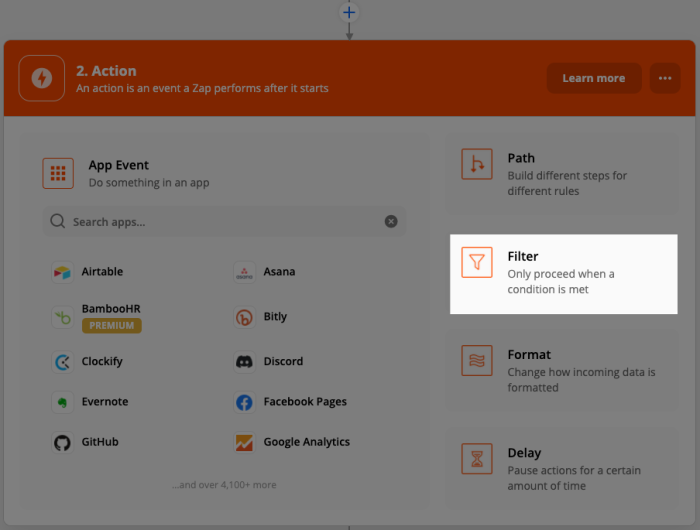 How to select Filter by Zapier in the Zap editor. A box highlights the option in the right-hand corner.