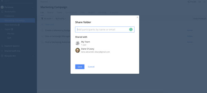 Sharing an existing folder with users