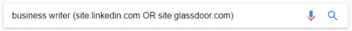Google search for business writer (site:linkedin.com OR site:glassdoor.com)