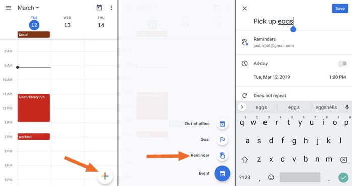 Google Calendar add reminder mobile