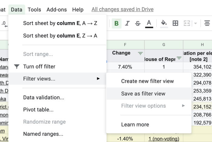 Save as Filter View in Google Sheets