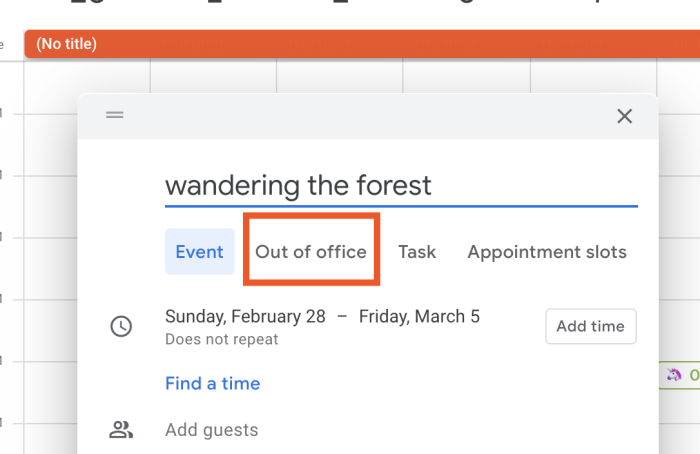 Selecting out of office from Google Calendar