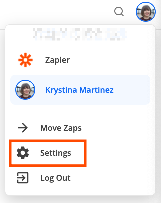 A red box highlights the Settings menu item in Zapier.