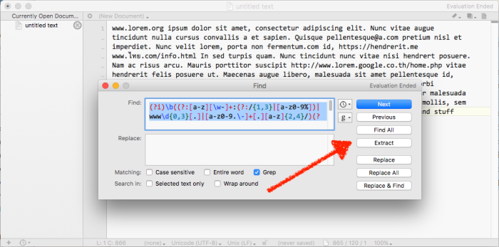 BBEdit lets you extract the text regex finds in one click