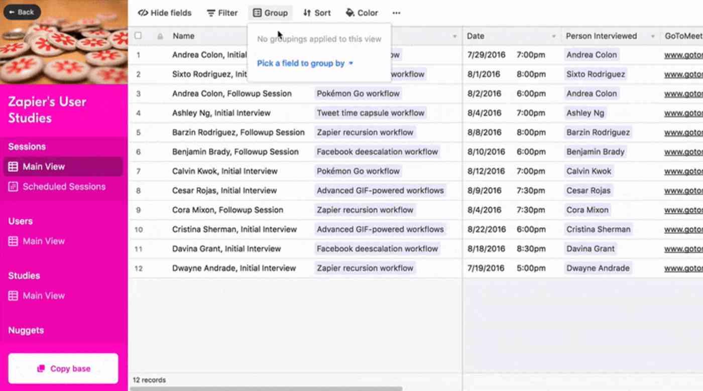 Zapier Airtable template demo
