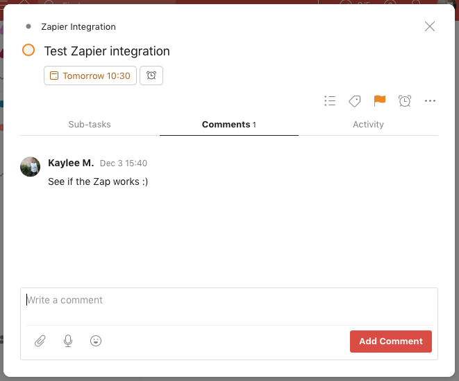 "A sample task in Todoist that reads ""Test Zapier integration"""