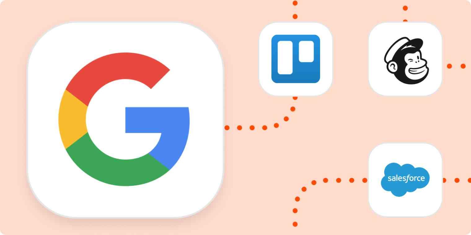 The Google, Trello, Mailchimp, and Salesforce logos.