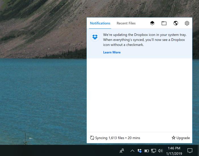 Dropbox menu bar