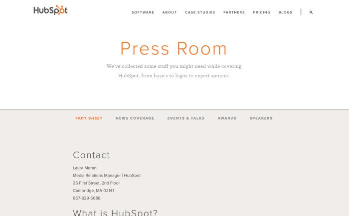 HubSpot press page