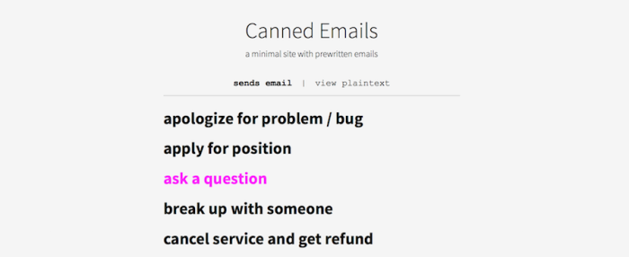 Canned Emails