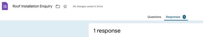 Google Forms response panel showing 1 response.