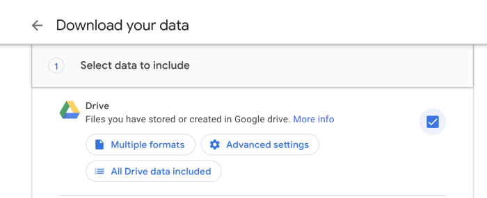 Google Drive in Google Takeout