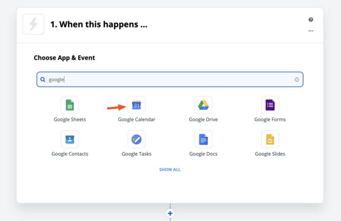 Google Calendar in Zapier