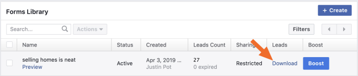 Facebook lead ads download button