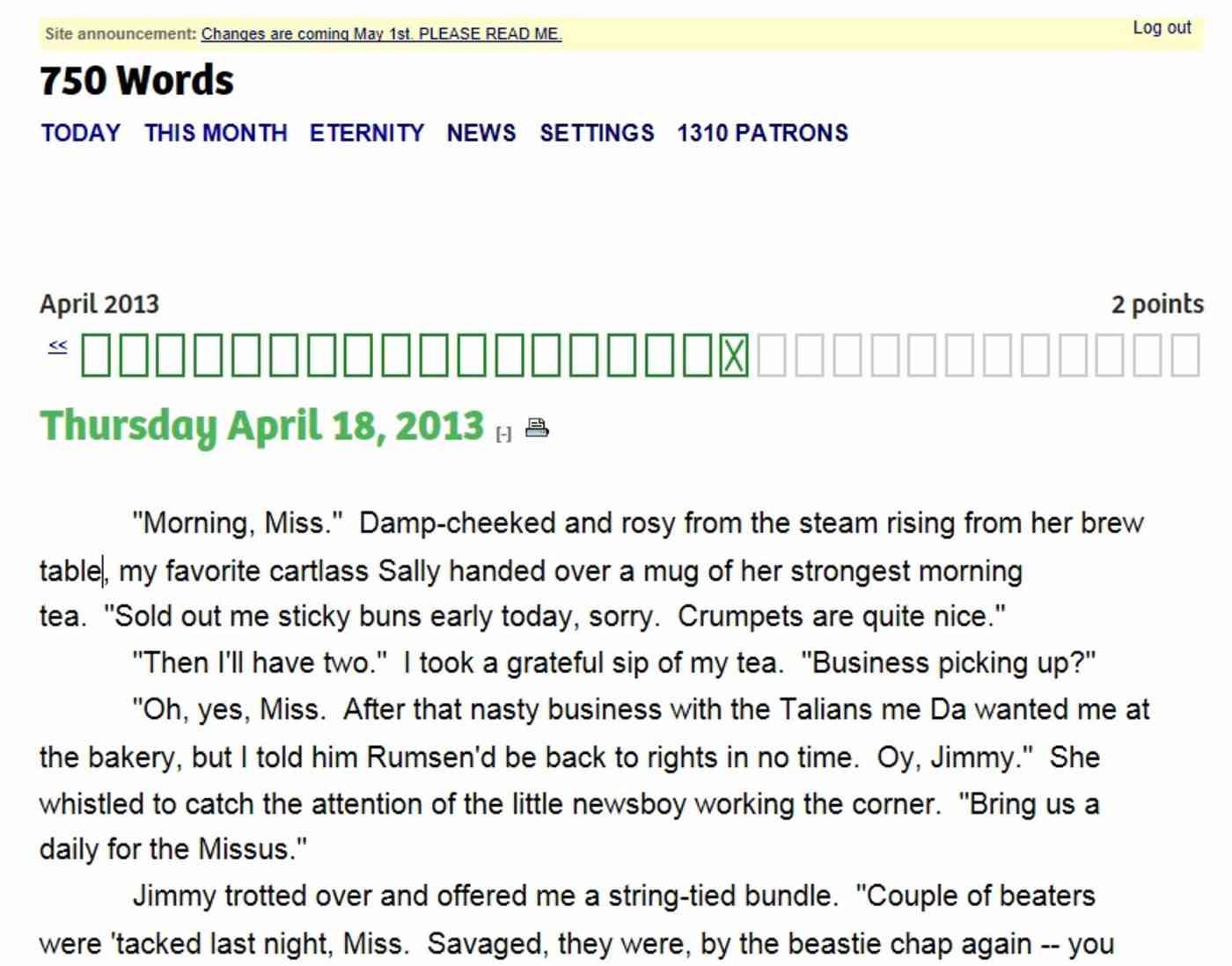 750 Words app
