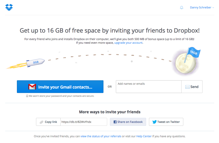 Dropbox uses a referral program as part of their viral marketing strategy