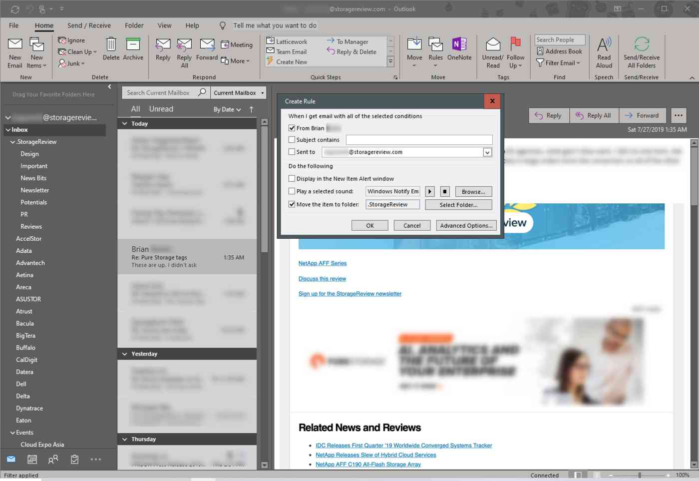 Outlook lets you create specific filtering rules for emails.