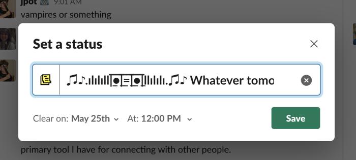 Setting a status in Slack