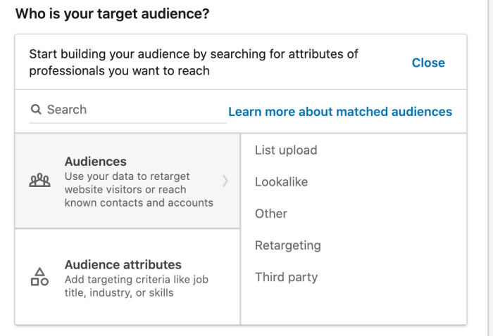 """Screenshot of page asking """"Who is your target audience?"""""""