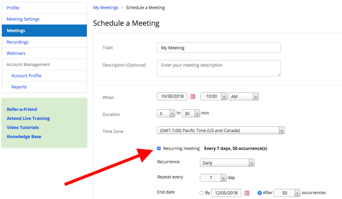Zoom recurring meeting schedule