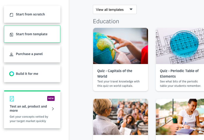The SurveyMonkey templates, including the one for Quiz - Capitals of the World.