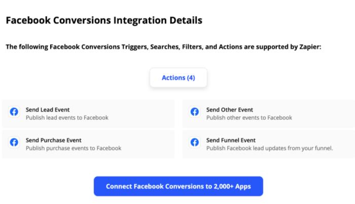 Facebook Conversion Integration Details page