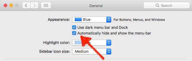 hide macOS menu bar