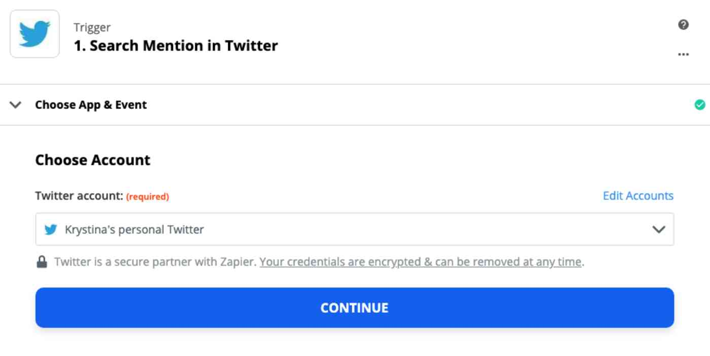 A screenshot of the trigger step in the Zap editor. A Twitter account is selected in the Choose Account dropdown menu.