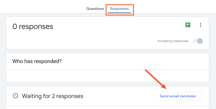 The Responses tab in Google Forms, with the option to send email reminder