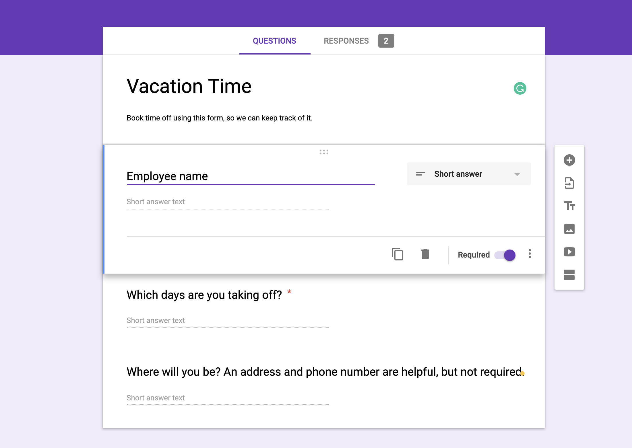 Setting up a form in Google Forms
