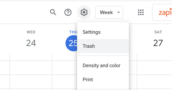 Click the gear icon and then Trash to get to the Trash in Google Calendar