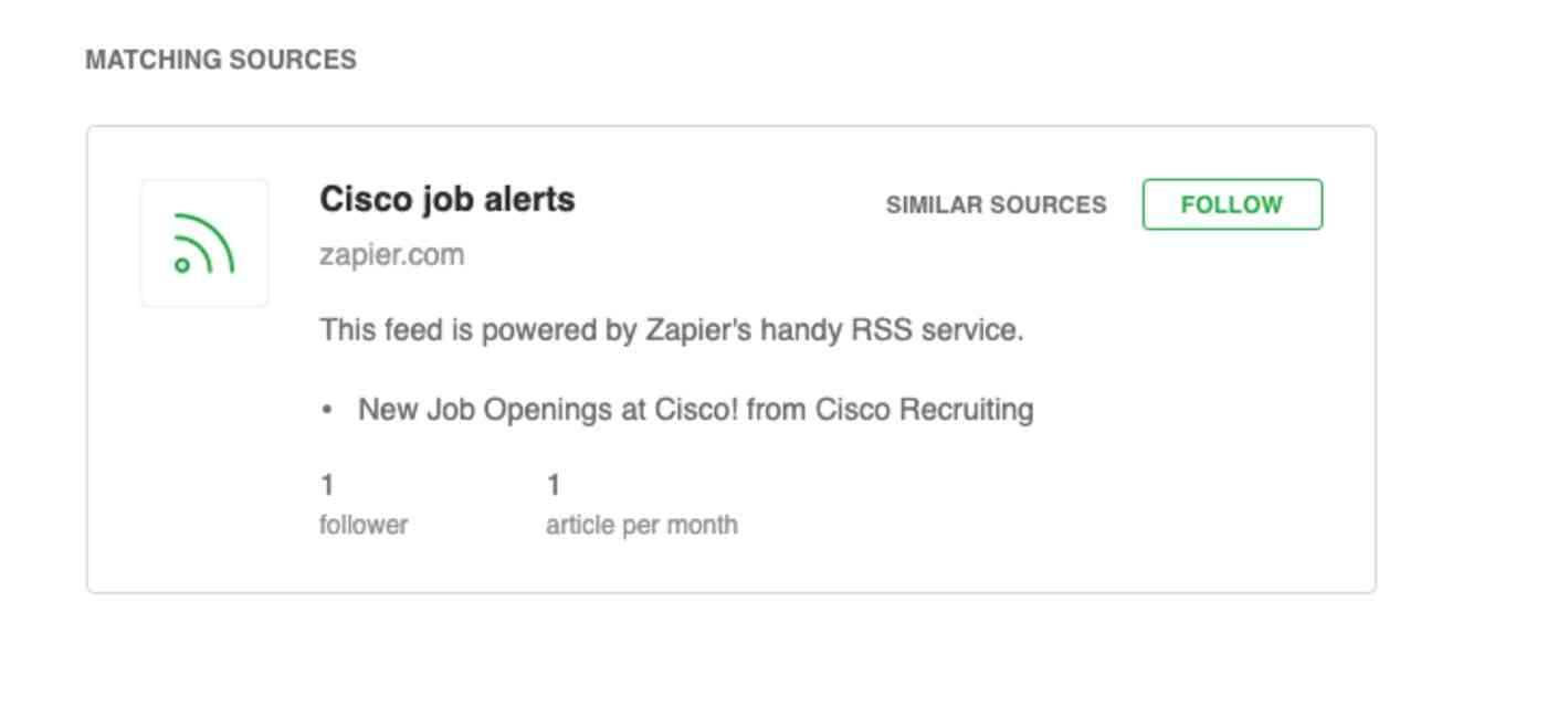 A screenshot of the email RSS feed previewed in Feedly.