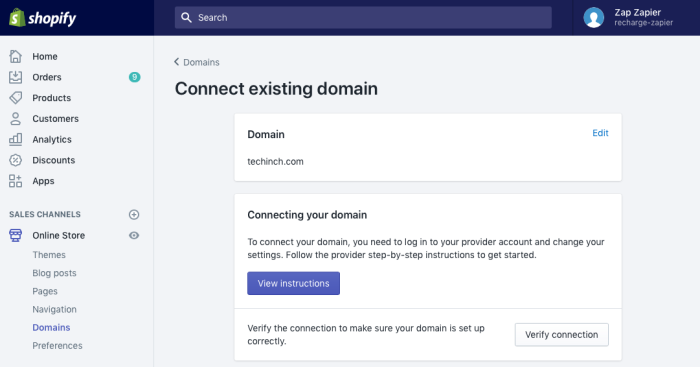 Add domain to Shopify