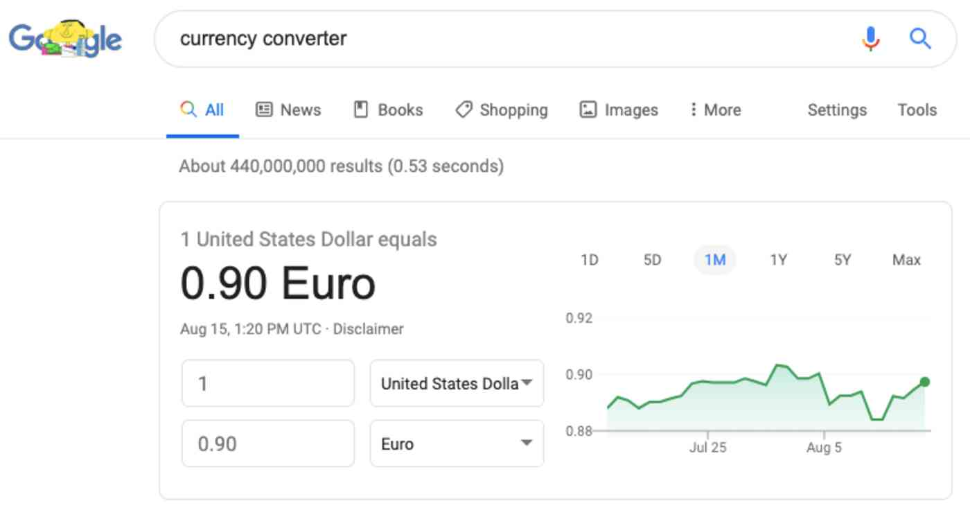 Google currency converter in search results