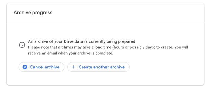 Copia de seguridad de Google Takeout en curso