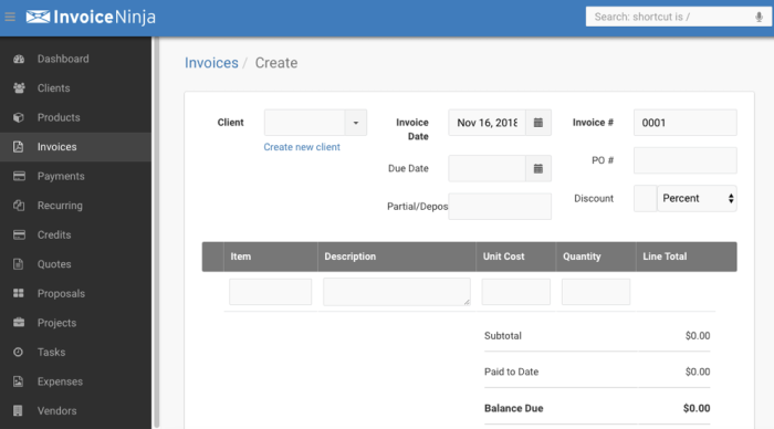 Entering a new invoice in Invoice Ninja