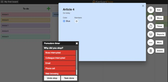KanbanFlow interface