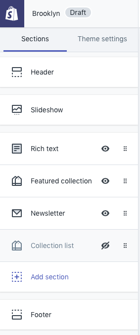 Shopify Sections Editor