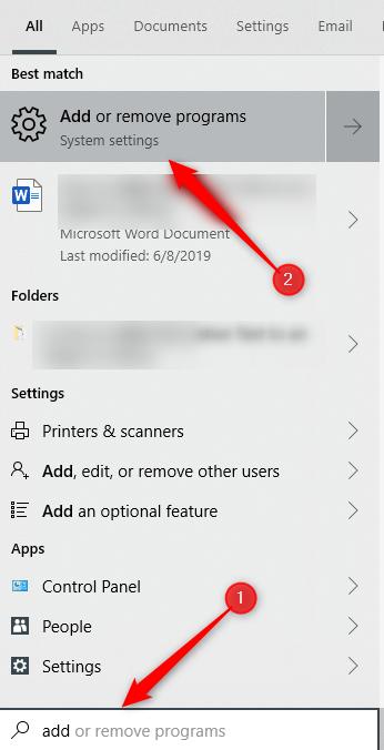 Add or remove programs
