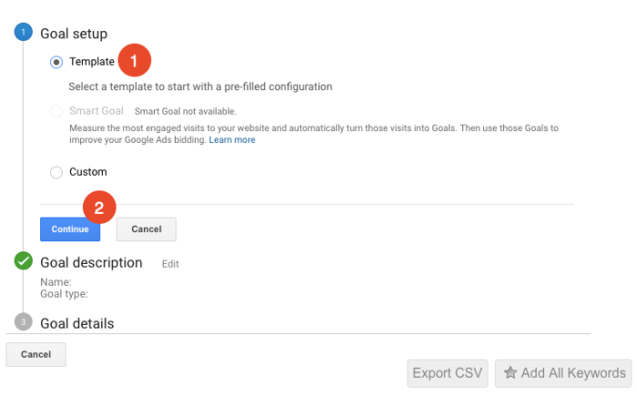 use a goal template in google analytics