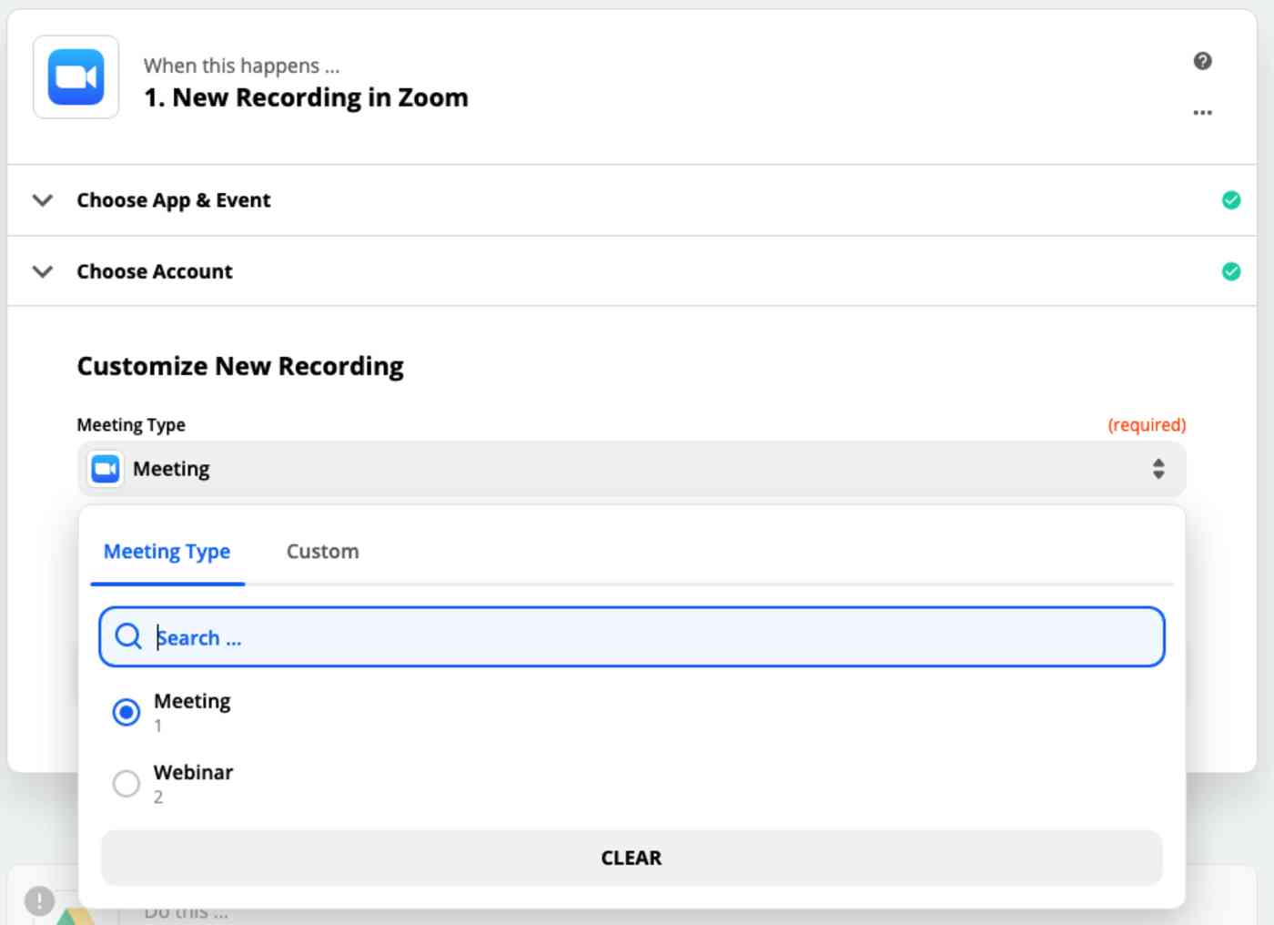 A screenshot of Zoom customization settings in the Zap Editor.