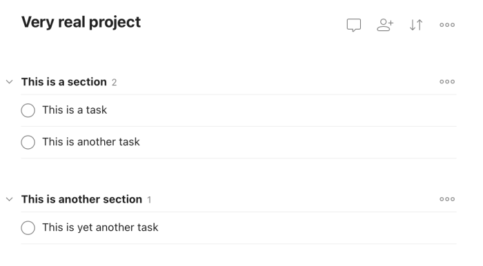 Todoist sections