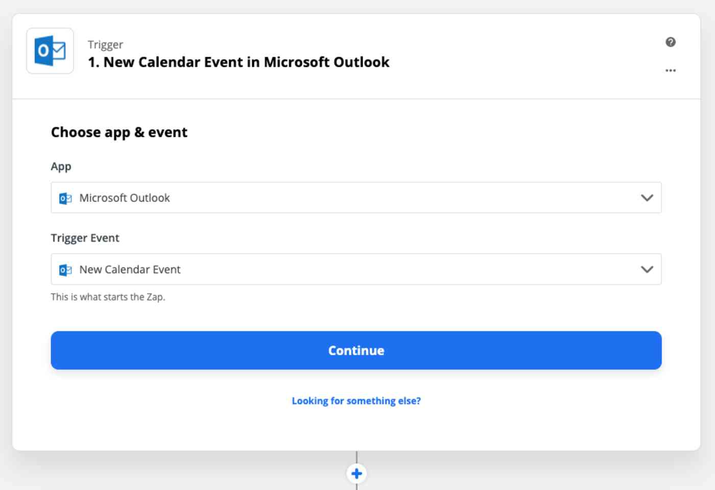 Zap Trigger set-up page: New calendar event in Microsoft Outlook