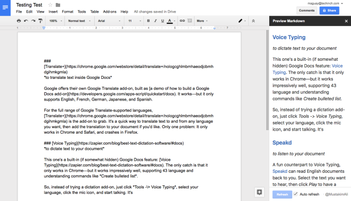 Preview Markdown in Google Docs