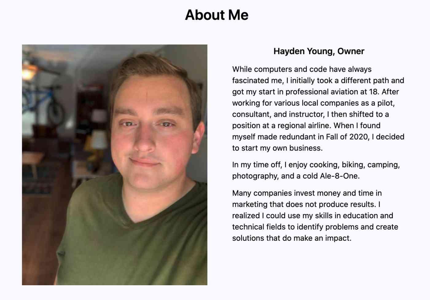 Hayden Young on his website