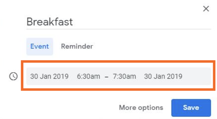 Google Calendar entry for Breakfast, 6:30 to 7:30 a.m.