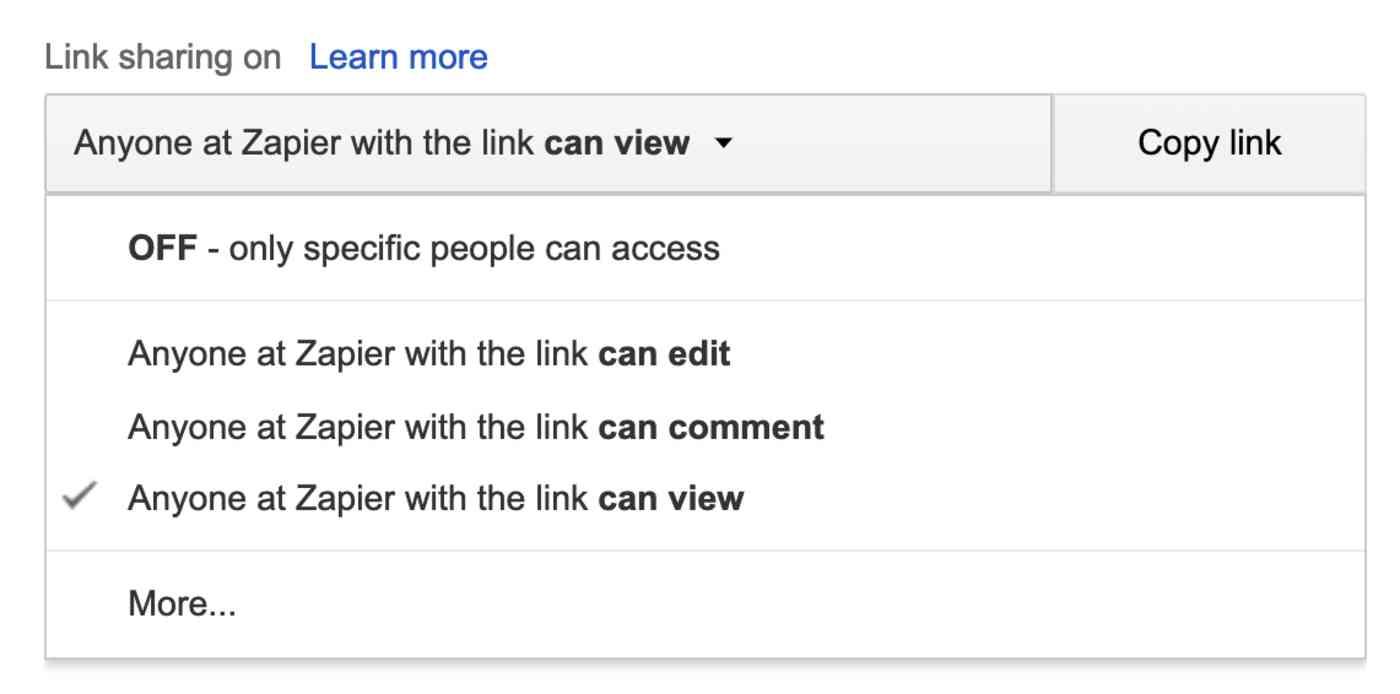 Google Docs URL permissions