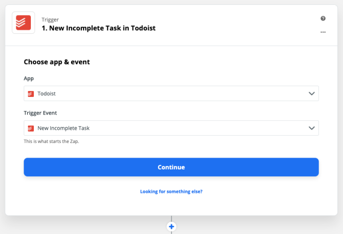 "The app selection screen in Zapier with text reading ""New incomplete task in Todoist"", ""Choose app & event"", with Todoist as the app and ""New incomplete task"" as the event."