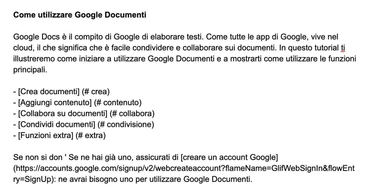 Document translated into Italian